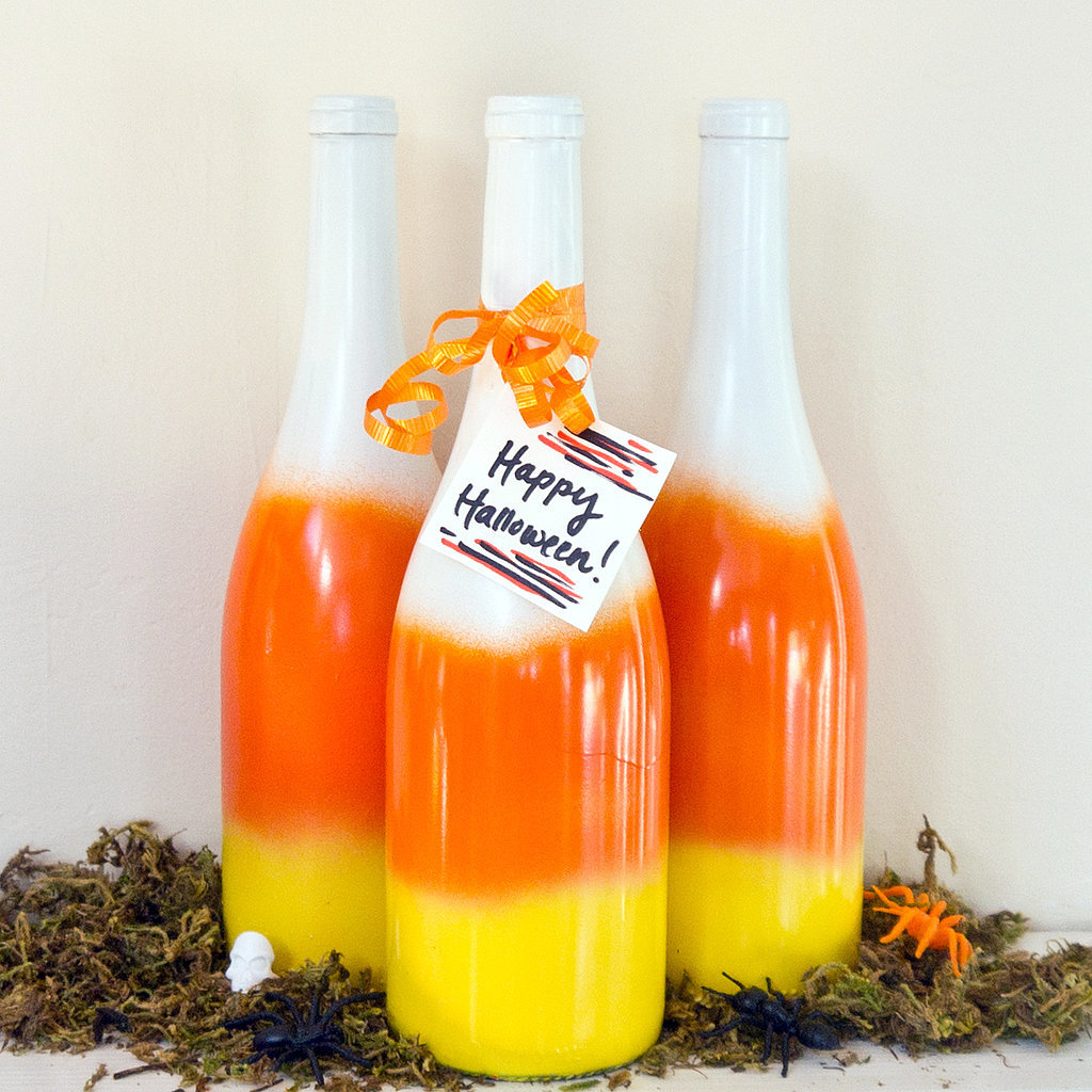 DIY Candy Corn Wine Bottles