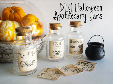 FINDS - Holiday DIY - DIY Halloween Apothecary Jars with Free Labels Printable