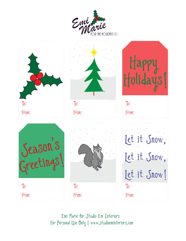 Emi Marie for Studio Em Interiors - Christmas Tags