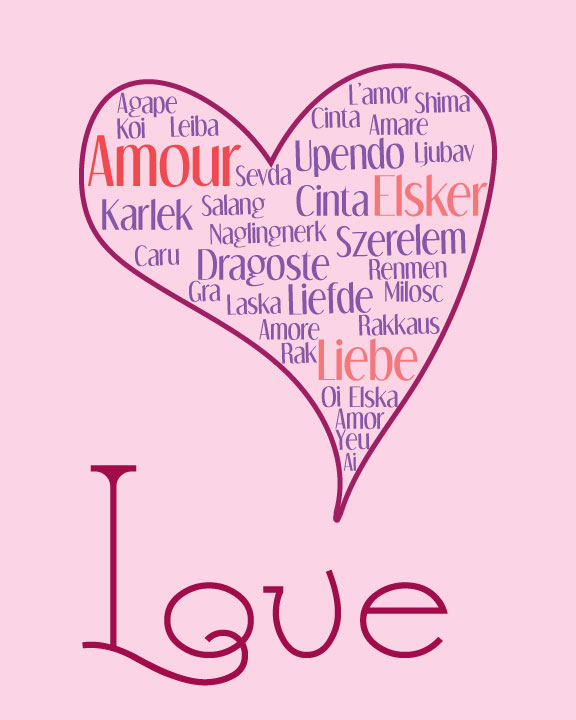 Love in Many Languages - Free Art Print