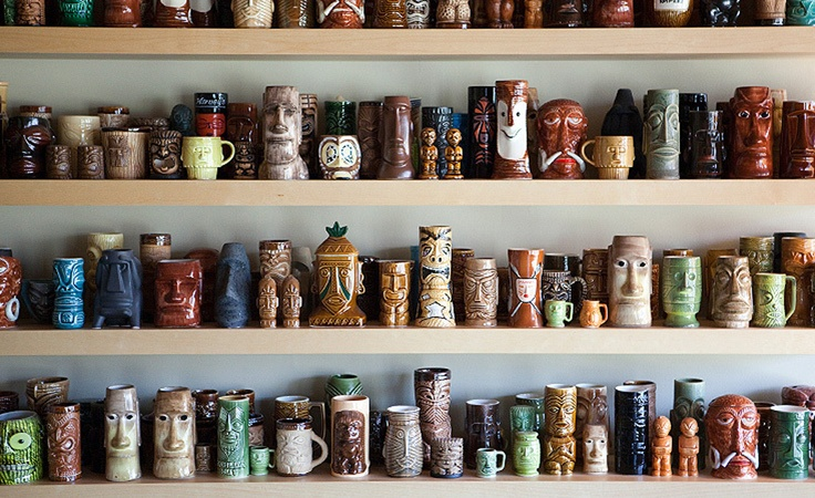 Tiki Mug Display - FINDS Blog - How to Display a Collection