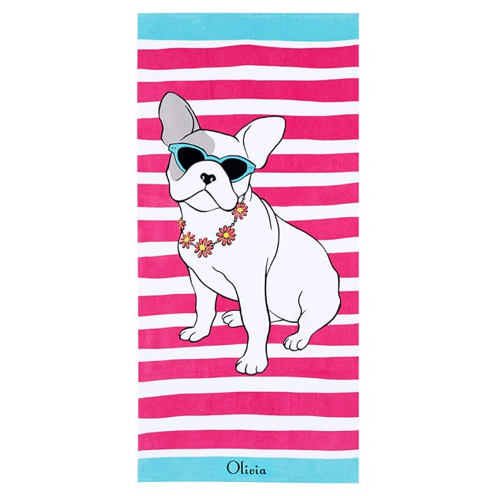 PBTeen Preppy Frenchie Beach Towel - 10 Summer Beach Towels - FINDS Blog