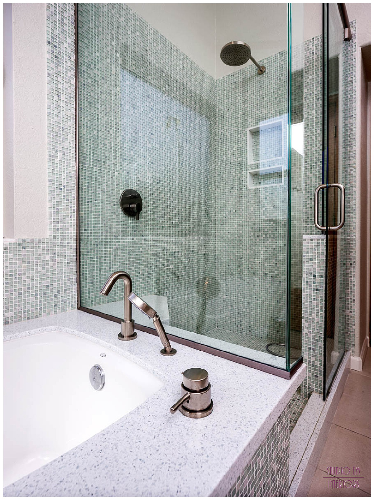 Chandler Spa Suite - Shower and Tub Detail - Studio Em Interiors